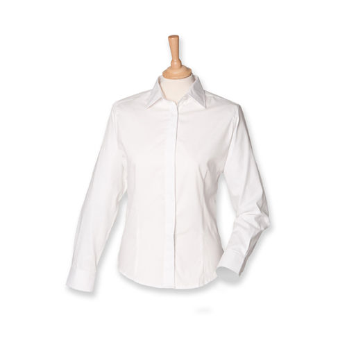 Ladies Long Sleeved Pinpoint Oxford Shirt [L] (white) (Art.-Nr. CA102748)