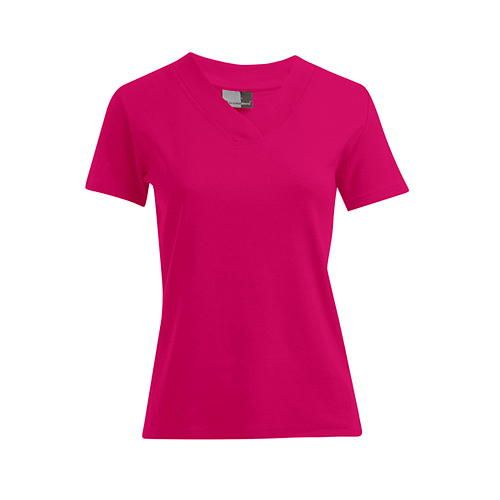 Women´s Rib V-Neck-T [S] (bright rose) (Art.-Nr. CA104619)