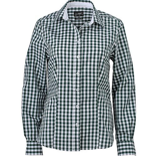 Ladies` Checked Blouse [M] (Forest green / white) (Art.-Nr. CA104969)