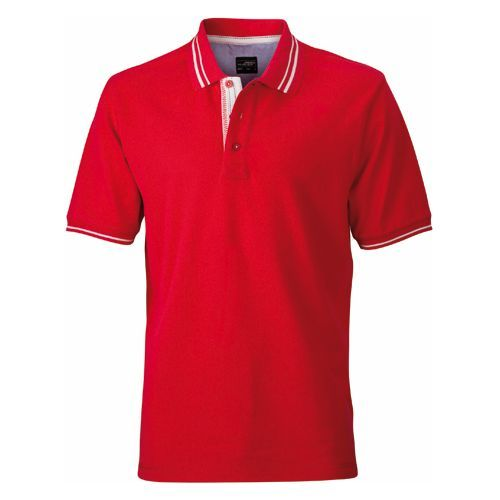 Men´s Lifestyle Polo [S] (red / Off-white) (Art.-Nr. CA105194)