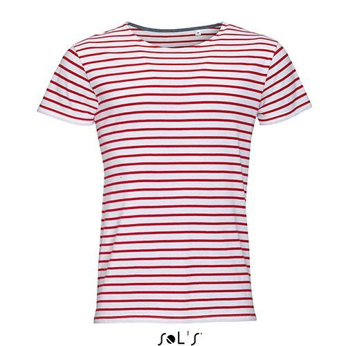 Men`s Round Neck Striped T-Shirt Miles [XXL] (white / red) (Art.-Nr. CA105633)