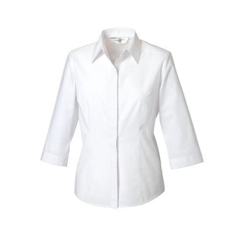 Ladies´ 3/4 Sleeve Polycotton Fitted Poplin Shirt [XS] (white) (Art.-Nr. CA110976)