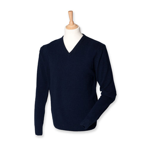 Henbury Lambswool V-Neck Jumper [M] (Navy) (Art.-Nr. CA118510)