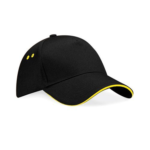 Ultimate 5 Panel Cap - Sandwich Peak [One Size] (black / yellow) (Art.-Nr. CA123292)
