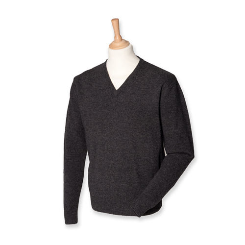 Lambswool V-Neck Jumper [XXL] (Charcoal) (Art.-Nr. CA159415)