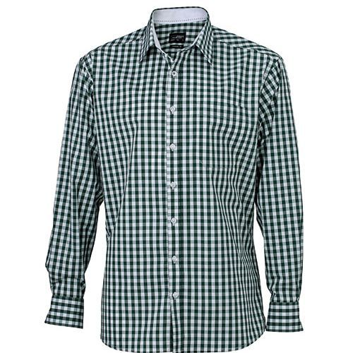 Men`s Checked Shirt [L] (Forest green / white) (Art.-Nr. CA169604)