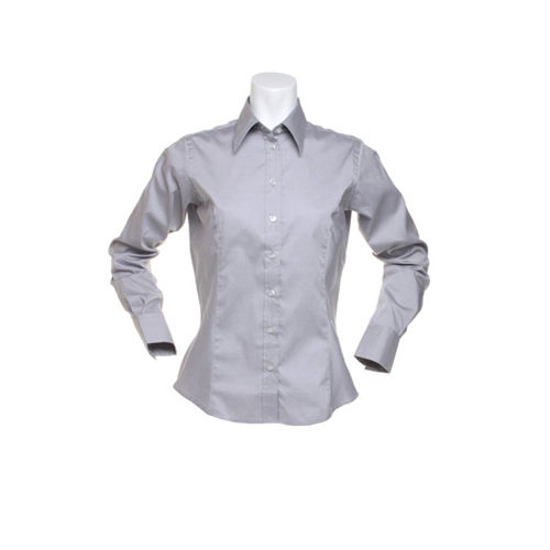 Women´s Corporate Oxford Shirt Long Sleeve [38 (M/12)] (silver grey (Solid)) (Art.-Nr. CA170758)