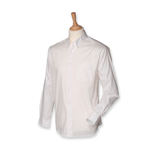 Men`s Long Sleeved Pinpoint Oxford Shirt [M] (White) (Art.-Nr. CA171384)