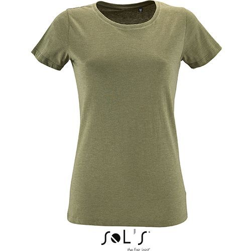 Womens Round Neck Fitted T-Shirt Regent [S] (heather Khaki) (Art.-Nr. CA217105)
