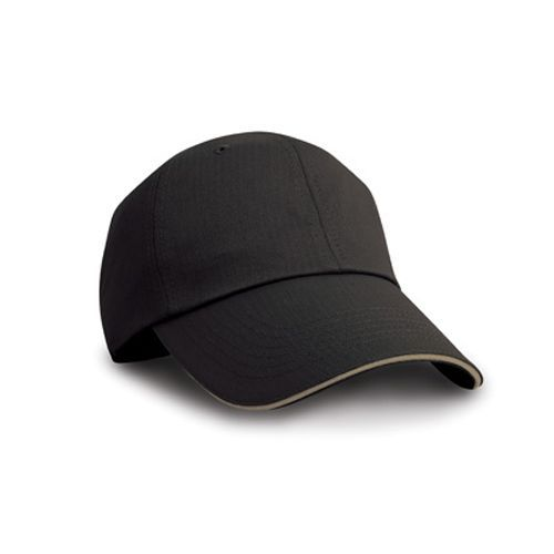 Herringbone Cap with Sandwich Peak [One Size] (black / Tan) (Art.-Nr. CA257624)