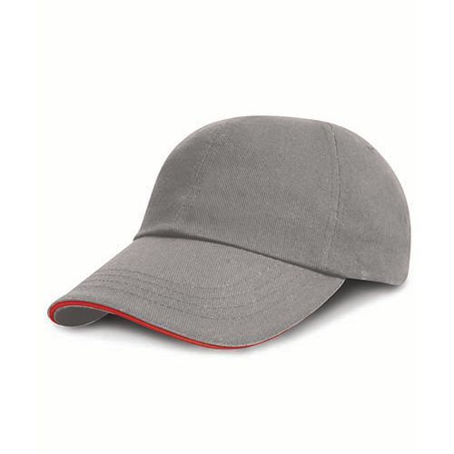 Heavy Brushed Cotton Cap [One Size] (grey / red) (Art.-Nr. CA264833)