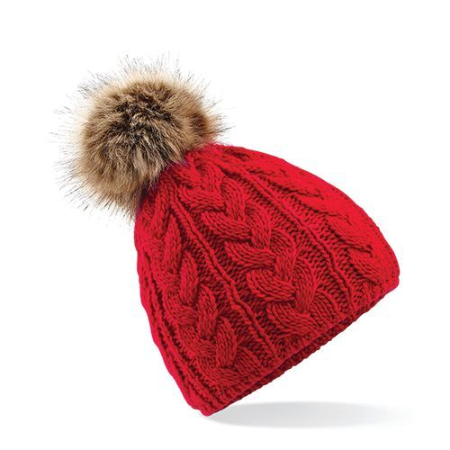 Fur Pop Pom Cable Beanie [One Size] (classic red) (Art.-Nr. CA271237)