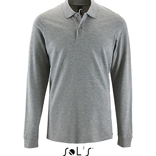 Mens Long-Sleeve Piqué Polo Shirt Perfect [M] (grey melange) (Art.-Nr. CA374908)