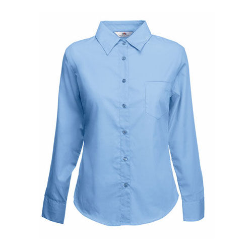 Long Sleeve Poplin Shirt Lady-Fit [3XL] (Mid blue) (Art.-Nr. CA734179)