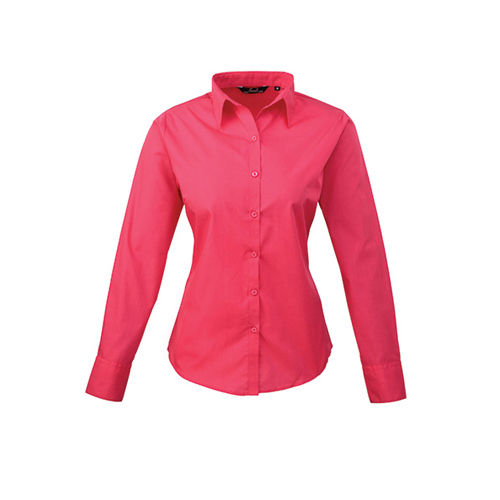 Ladies` Poplin Long Sleeve Blouse [40 (12)] (Hot pink) (Art.-Nr. CA805974)