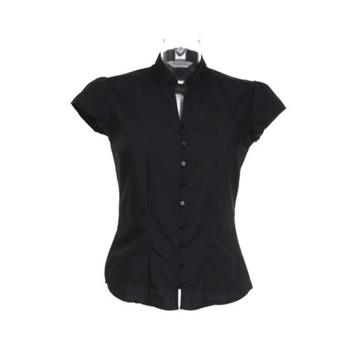 Tailored Fit Poplin Contintental Blouse Mandarin Collar Cap Sleeve [44 (XXL/18)] (black) (Art.-Nr. CA806142)