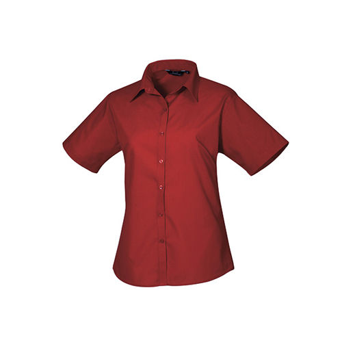 Ladies` Poplin Short Sleeve Blouse [42 (14)] (burgundy) (Art.-Nr. CA807198)