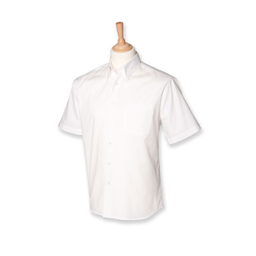 Men`s Short Sleeved Pinpoint Oxford Shirt [XXL] (white) (Art.-Nr. CA807313)