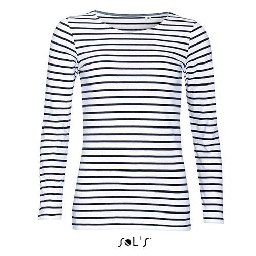 Women´s Long Sleeve Striped T-Shirt Marine [XXL] (white / navy) (Art.-Nr. CA841947)