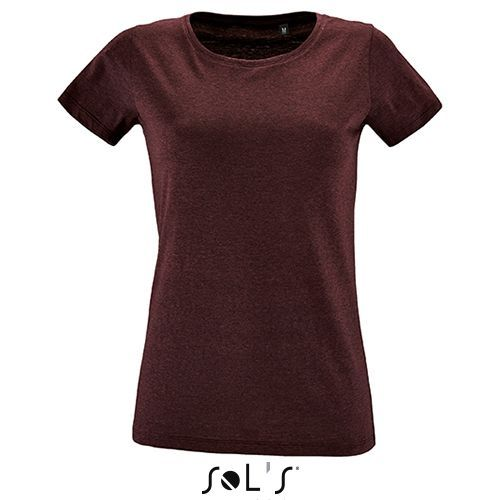 Womens Round Neck Fitted T-Shirt Regent [S] (heather Oxblood) (Art.-Nr. CA940344)