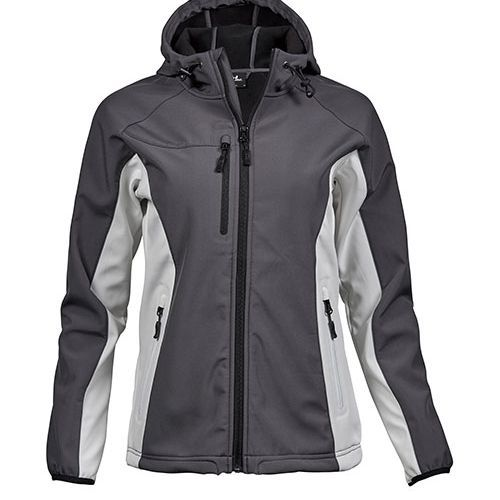 Ladies Hooded Lightweight Performance Softshell [XXL] (dark grey (Solid) / Offwhite) (Art.-Nr. CA986454)