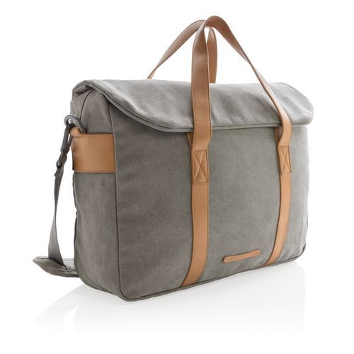 Canvas Laptop-Tasche PVC frei (grau) (Art.-Nr. CA106180)