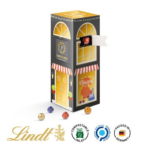 Mini Kugeln Tower Adventskalender Lindt (weiß) (Art.-Nr. CA493602)