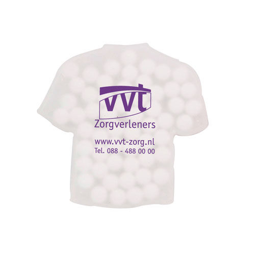 Mintdispenser T-shirt Duo mit ca. 8 gr. Minties mit Zutatenaufkleber. TAMPONDRUCK (transparent) (Art.-Nr. CA109996)