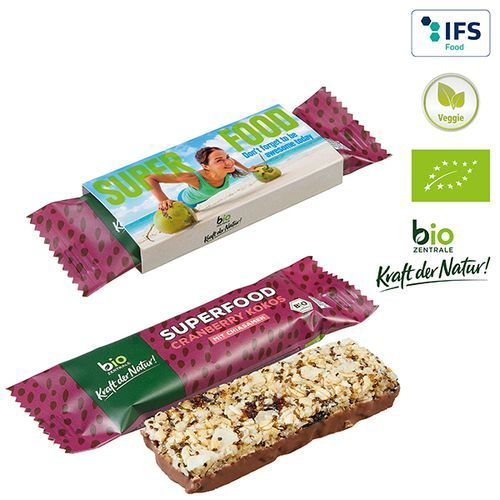 BIO Müsliriegel SUPERFOOD Cranberry + Kokos (1-4-farbig) (Art.-Nr. CA840604)