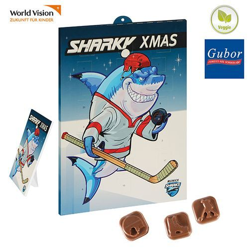 Eishockey-Schoko-Adventskalender BUSINESS (Art.-Nr. CA976310) - Tisch-/Wand-Adventskalender im Hoch-...