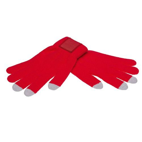 Touchscreen gloves with label (PMS 186c / PMS 420c) (Art.-Nr. CA398795)