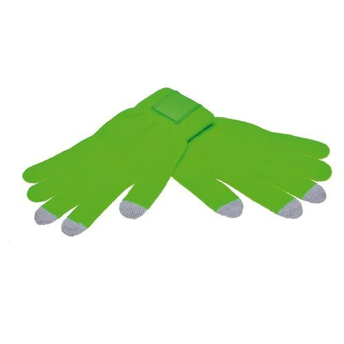 Touchscreen gloves with label (PMS 802c / PMS 420c) (Art.-Nr. CA526395)