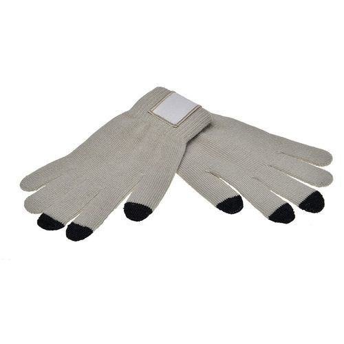 Touchscreen gloves with label (PMS 421c / black) (Art.-Nr. CA558986)