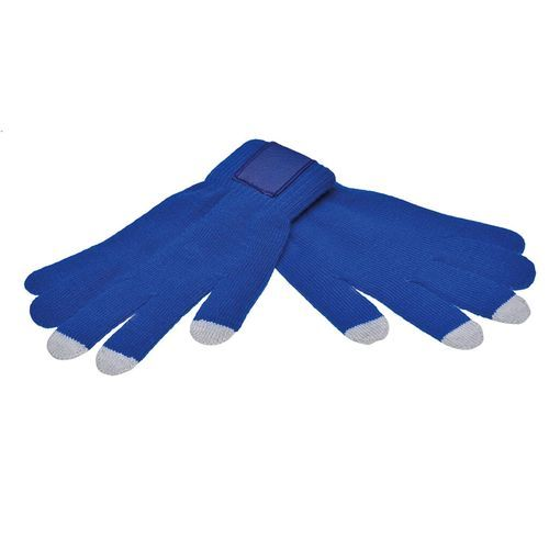 Touchscreen gloves with label (PMS 286c / PMS 420c) (Art.-Nr. CA911098)