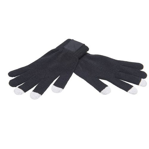 Touchscreen gloves with label (black / PMS 420c) (Art.-Nr. CA937344)