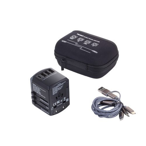 TROIKA Reiseadapter-Set TROIKA WORLD TRAVEL ADAPTER (grau / schwarz) (Art.-Nr. CA940432)