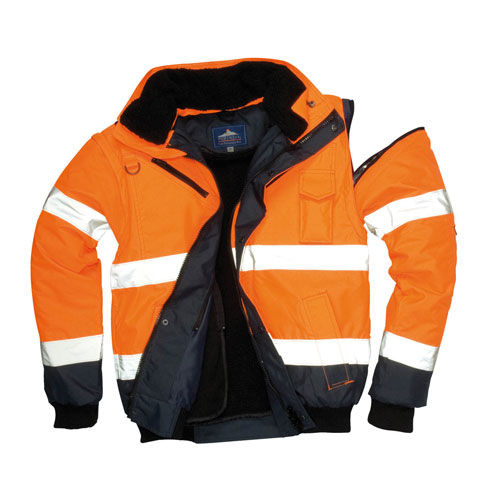 Kontrast Warnschutz Bomberjacke /navy Gr. S - 4XL (orange / navy) (Art.-Nr. CA356554)