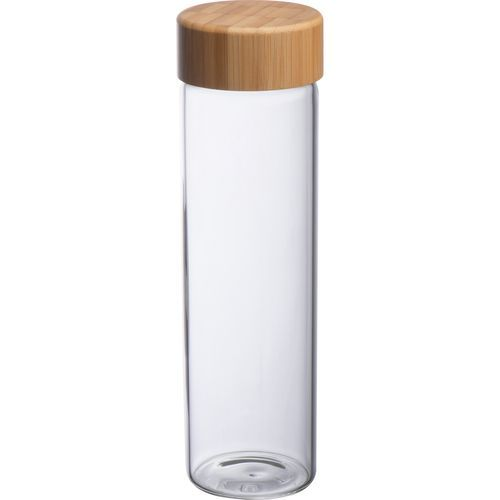 Glasflasche mit Bambusdeckel Santa Cruz (transparent) (Art.-Nr. CA435179)