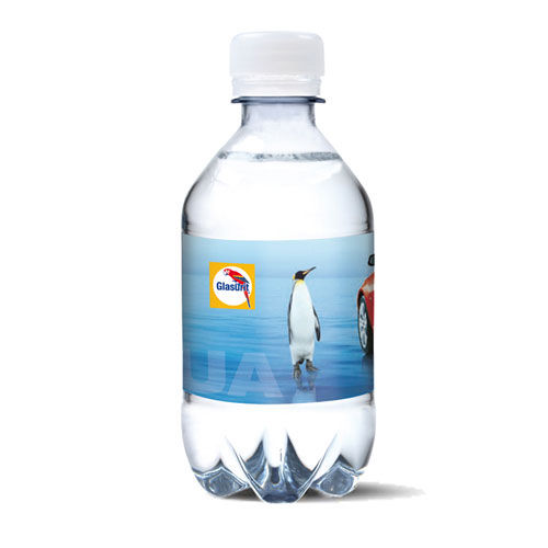 330ml Promotionwasser mit Kohlensäure 4c Label - labeled water sparkling (transparent) (Art.-Nr. CA426419)