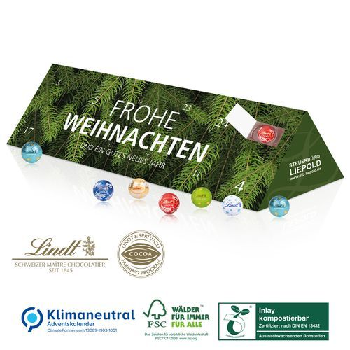 Adventskalender Lindt Office Premium, Klimaneutral, FSC®, Inlay kompostierbar (4-farbig) (Art.-Nr. CA162493)
