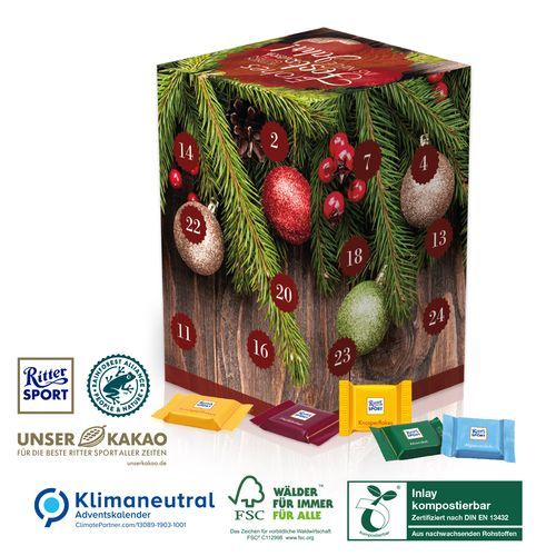 Adventskalender Cube XL, Klimaneutral, FSC®, Inlay kompostierbar (4-farbig) (Art.-Nr. CA167896)