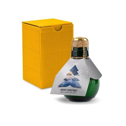 Origineller Sekt Merry Christmas - Karton Gelb, 125 ml (Geschenkbox In Gelb) (Art.-Nr. CA647498)