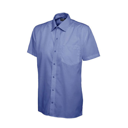 Mens Poplin Half Sleeve Shirt [2XL] (Mid Blue) (Art.-Nr. CA388305)