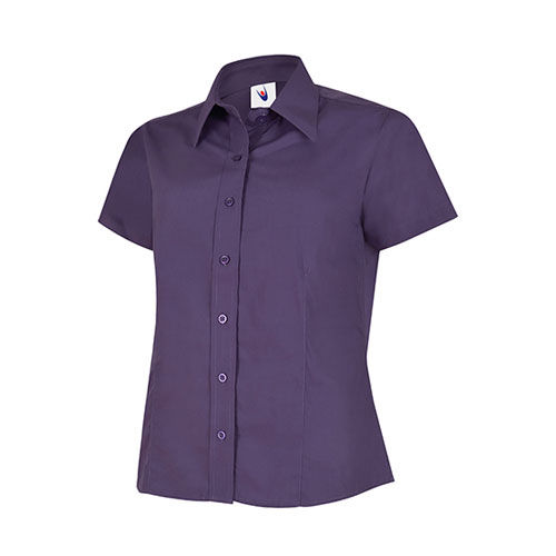 Ladies Poplin Half Sleeve Shirt [5XL] (Purple) (Art.-Nr. CA424785)