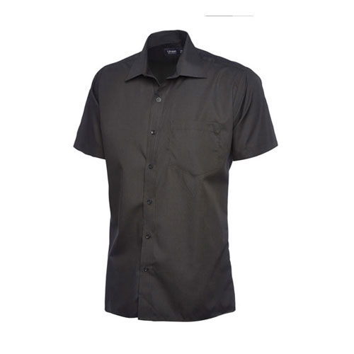 Mens Poplin Half Sleeve Shirt [XL] (black) (Art.-Nr. CA441858)