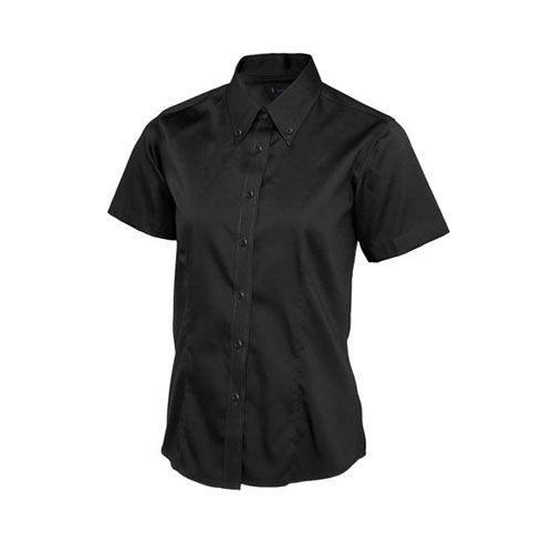 Ladies Pinpoint Oxford Half Sleeve Shirt [3XL] (black) (Art.-Nr. CA465924)