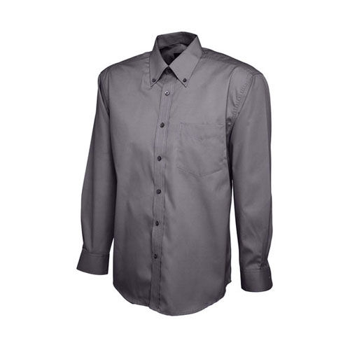 Mens Pinpoint Oxford Full Sleeve Shirt [XL] (Charcoal) (Art.-Nr. CA466676)