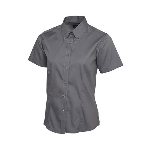 Ladies Pinpoint Oxford Half Sleeve Shirt [XS] (charcoal) (Art.-Nr. CA726624)