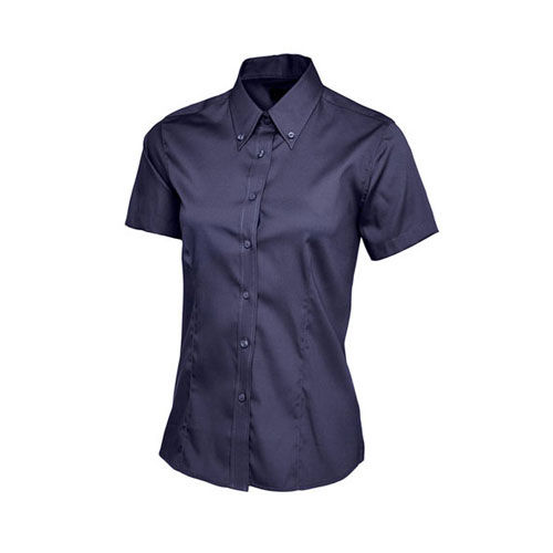 Ladies Pinpoint Oxford Half Sleeve Shirt [3XL] (navy) (Art.-Nr. CA738339)