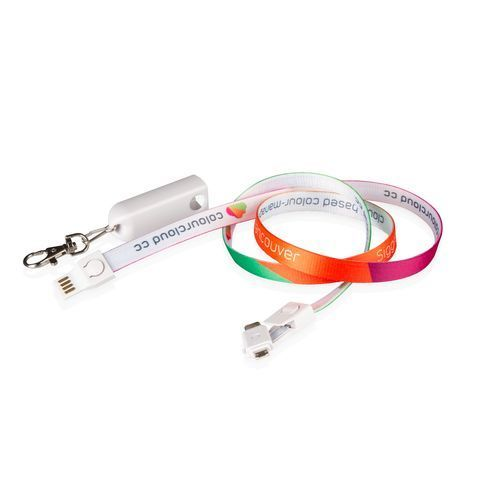 3-in-1 USB-Lanyard (weiß) (Art.-Nr. CA166026)